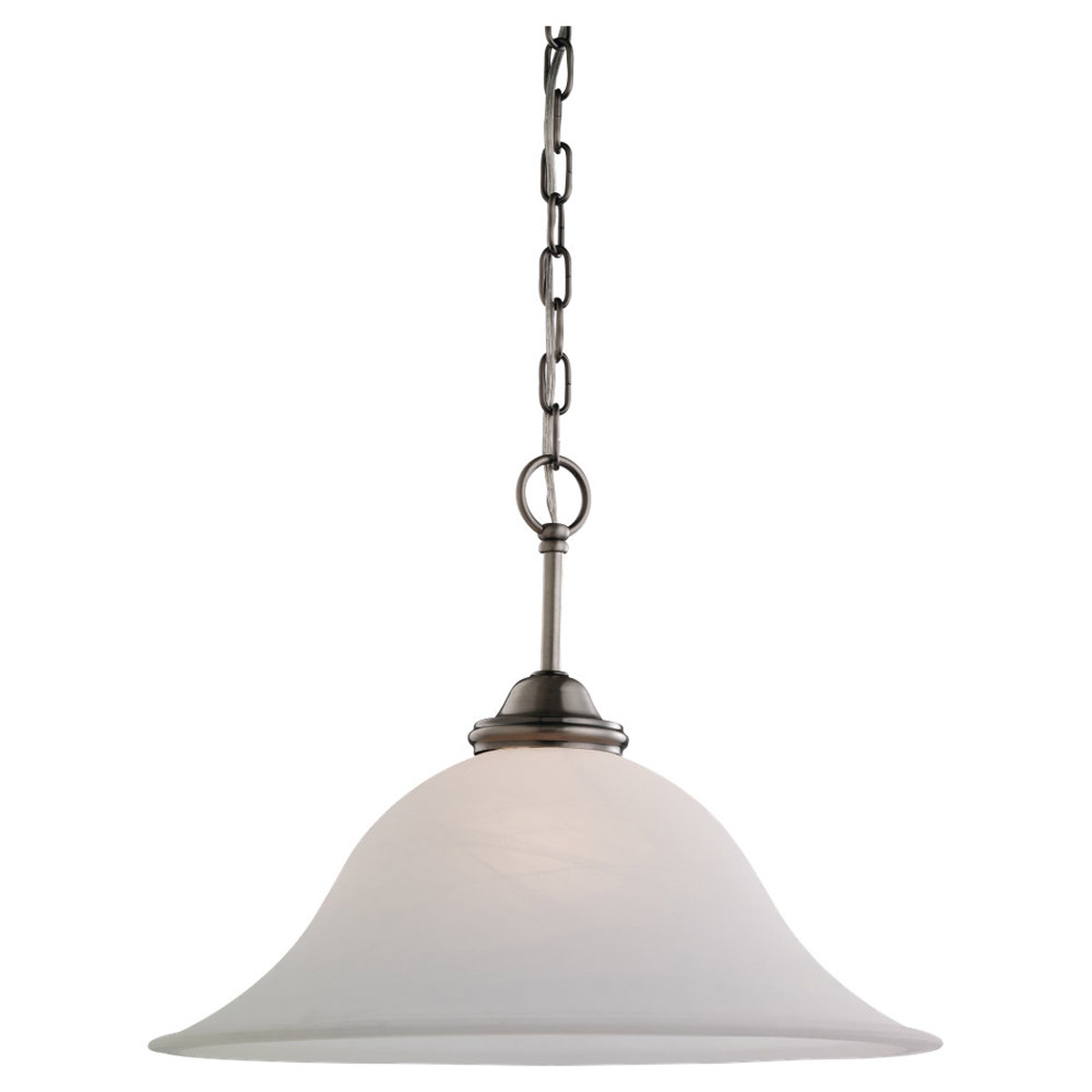 Sea Gull 65360-965 Rialto 1 Light 18 inch Antique Brushed Nickel Pendant Ceiling Light in Etched White Alabaster Glass photo