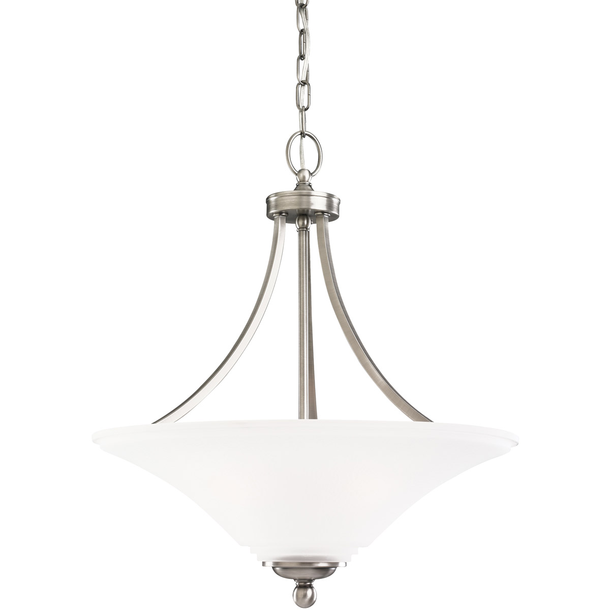 Sea Gull 65376-965 Somerton 3 Light 21 inch Antique Brushed Nickel Pendant Ceiling Light in Satin Etched Glass, Standard photo