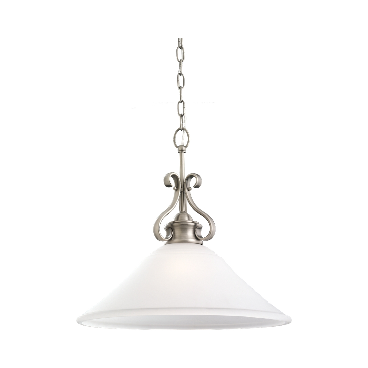 Sea Gull 65380-965 Parkview 1 Light 19 inch Antique Brushed Nickel Pendant Ceiling Light in Satin Etched Glass, Standard photo