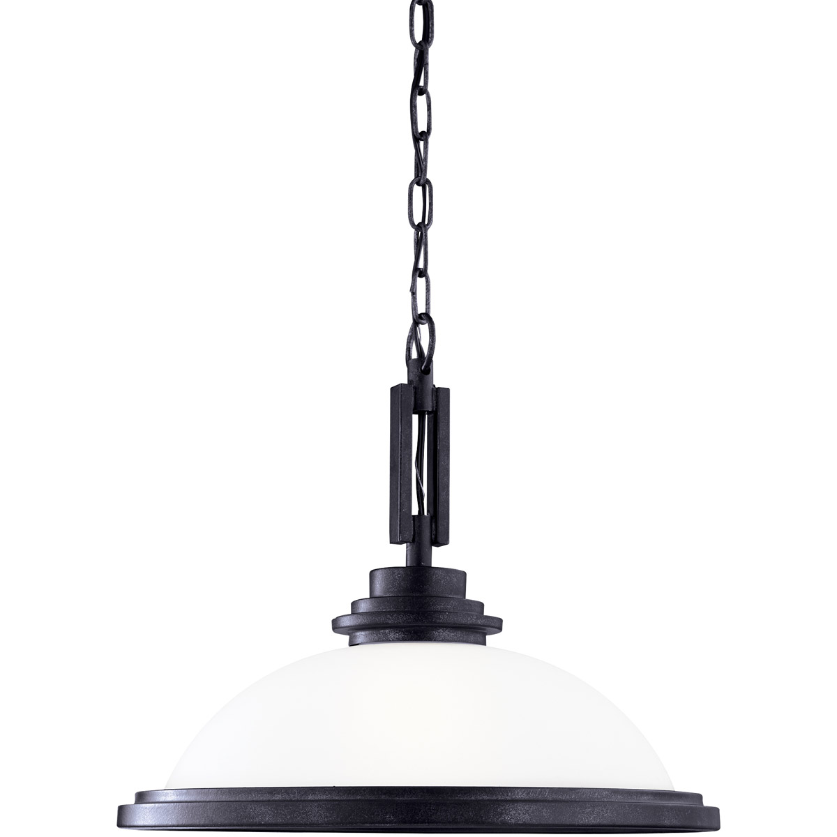 Sea Gull 65660-839 Winnetka 1 Light 17 inch Blacksmith Pendant Ceiling Light in Satin Etched Glass, Standard photo