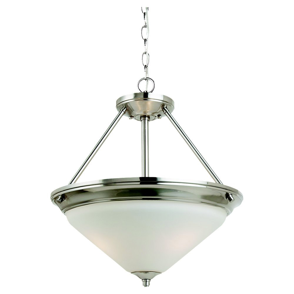 Sea Gull Lighting Belair 3 Light Fluorescent Pendant in Brushed Nickel 65791BLE-962