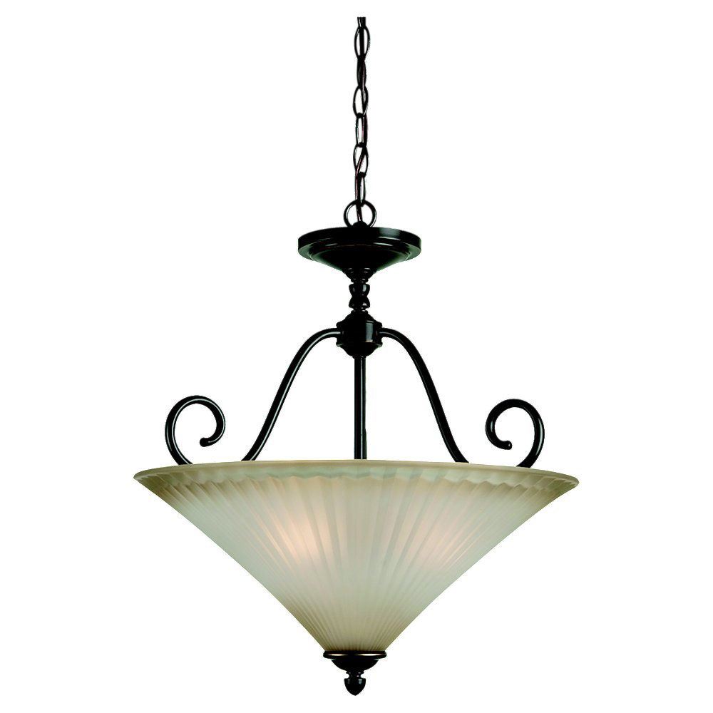 Sea Gull Lighting Joliet 3 Light Pendant Inverted in Heirloom Bronze 65936-782