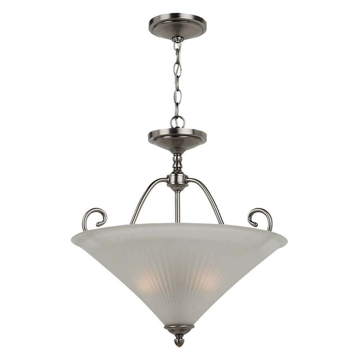 Sea Gull Lighting Joliet 3 Light Pendant Inverted in Antique Brushed Nickel 65936-965
