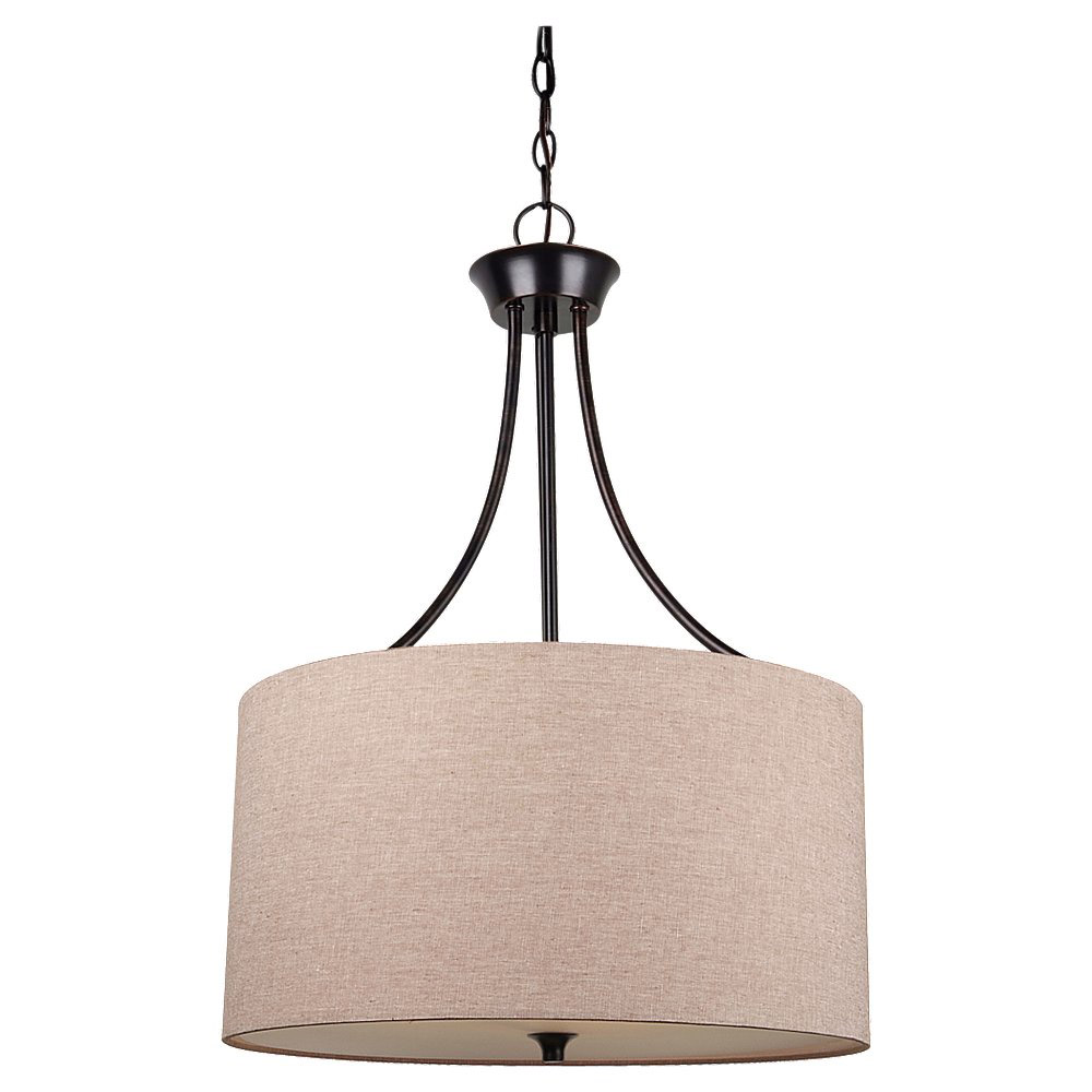 Sea Gull 65953-710 Stirling 3 Light 19 inch Burnt Sienna Pendant Ceiling Light in Beige Linen Fabric, Standard photo