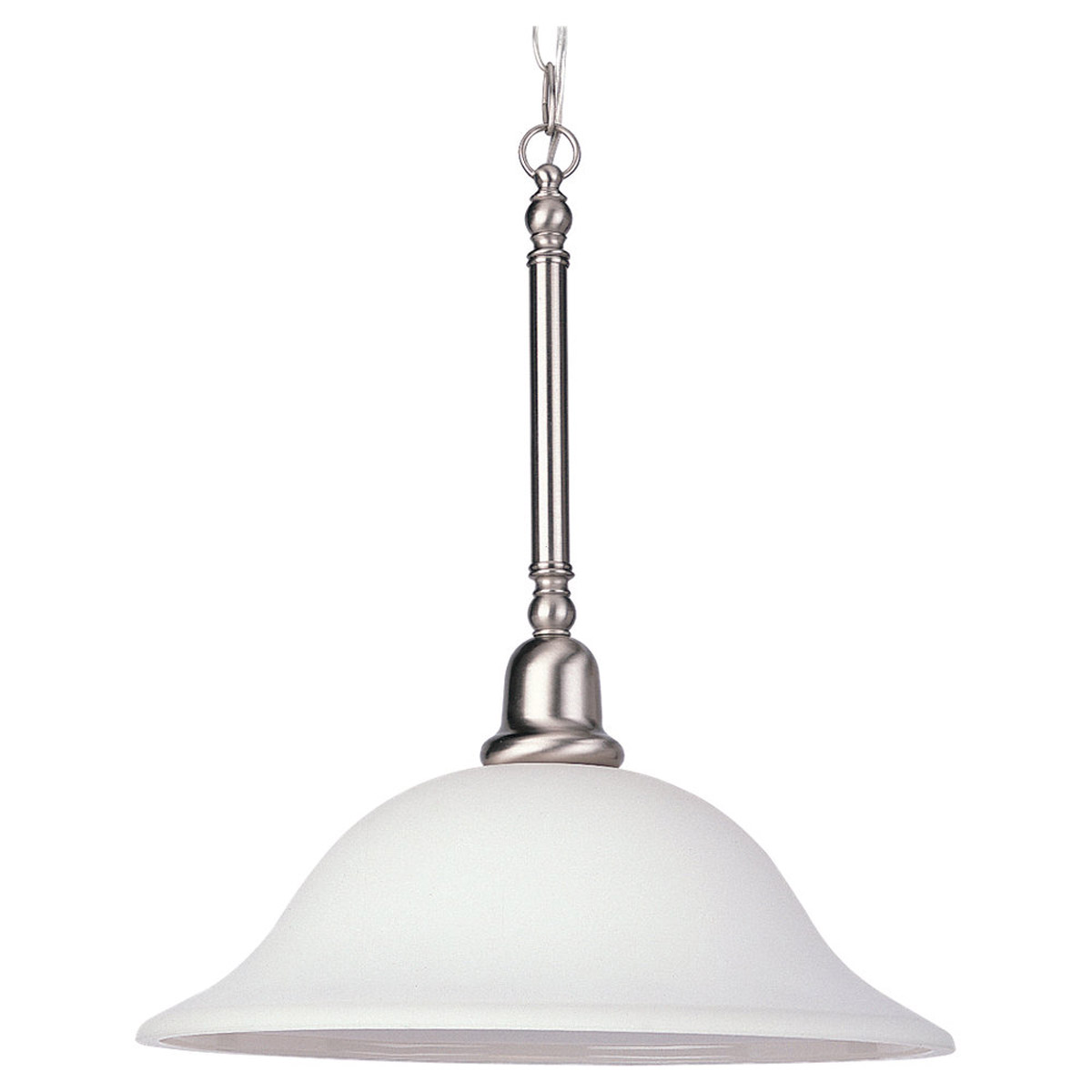 Sea Gull 66060-962 Sussex 1 Light 16 inch Brushed Nickel Pendant Ceiling Light in Satin White Glass photo