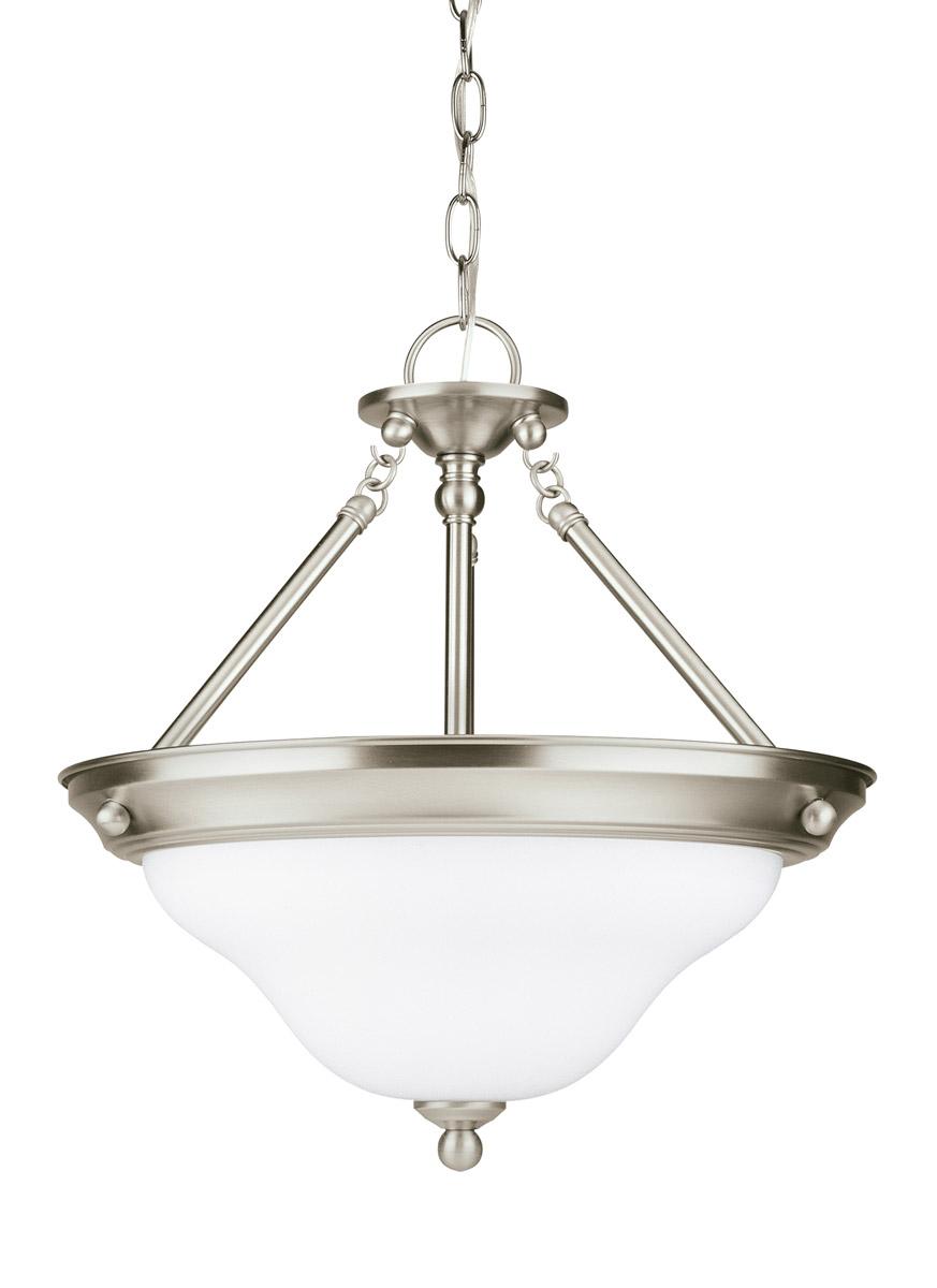 Sus 3 Light 15 Inch Brushed Nickel Semi Flush Convertible Pendant Ceiling