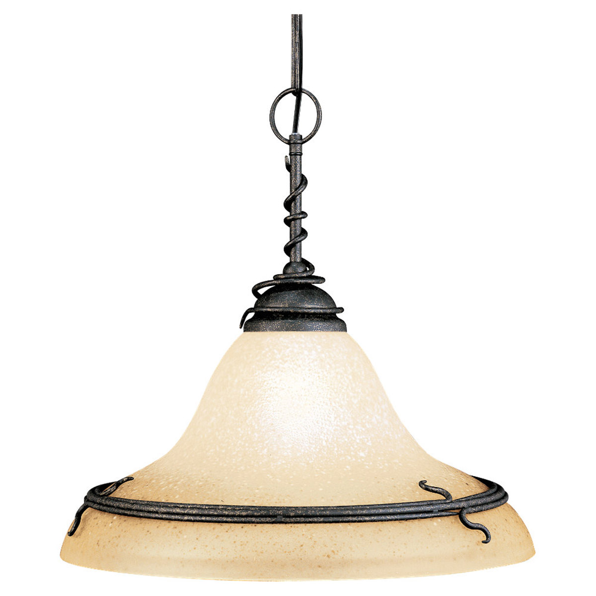 Sea Gull Lighting Saranac Lake 1 Light Pendant in Forged Iron 6610-185