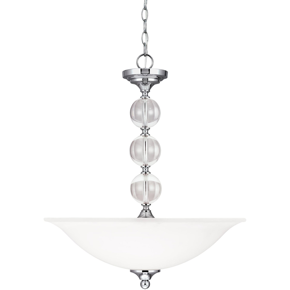 Sea Gull Englehorn 3 Light Pendant in Chrome / Optic Crystal 6613403-05