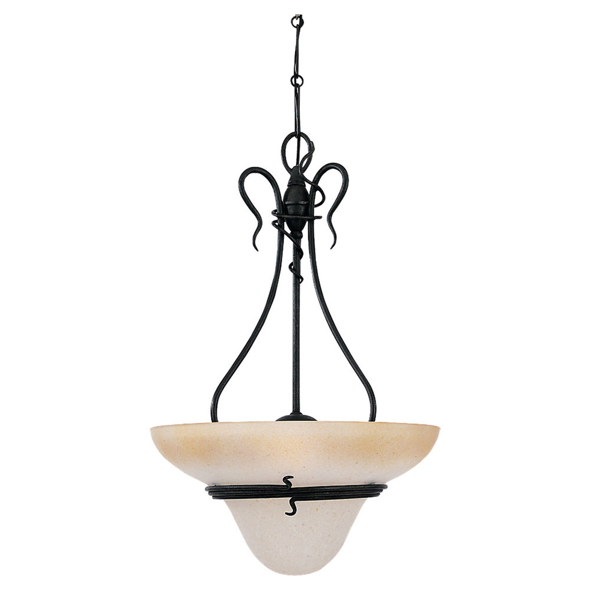 Sea Gull Lighting Saranac Lake 3 Light Pendant in Forged Iron 6614-185