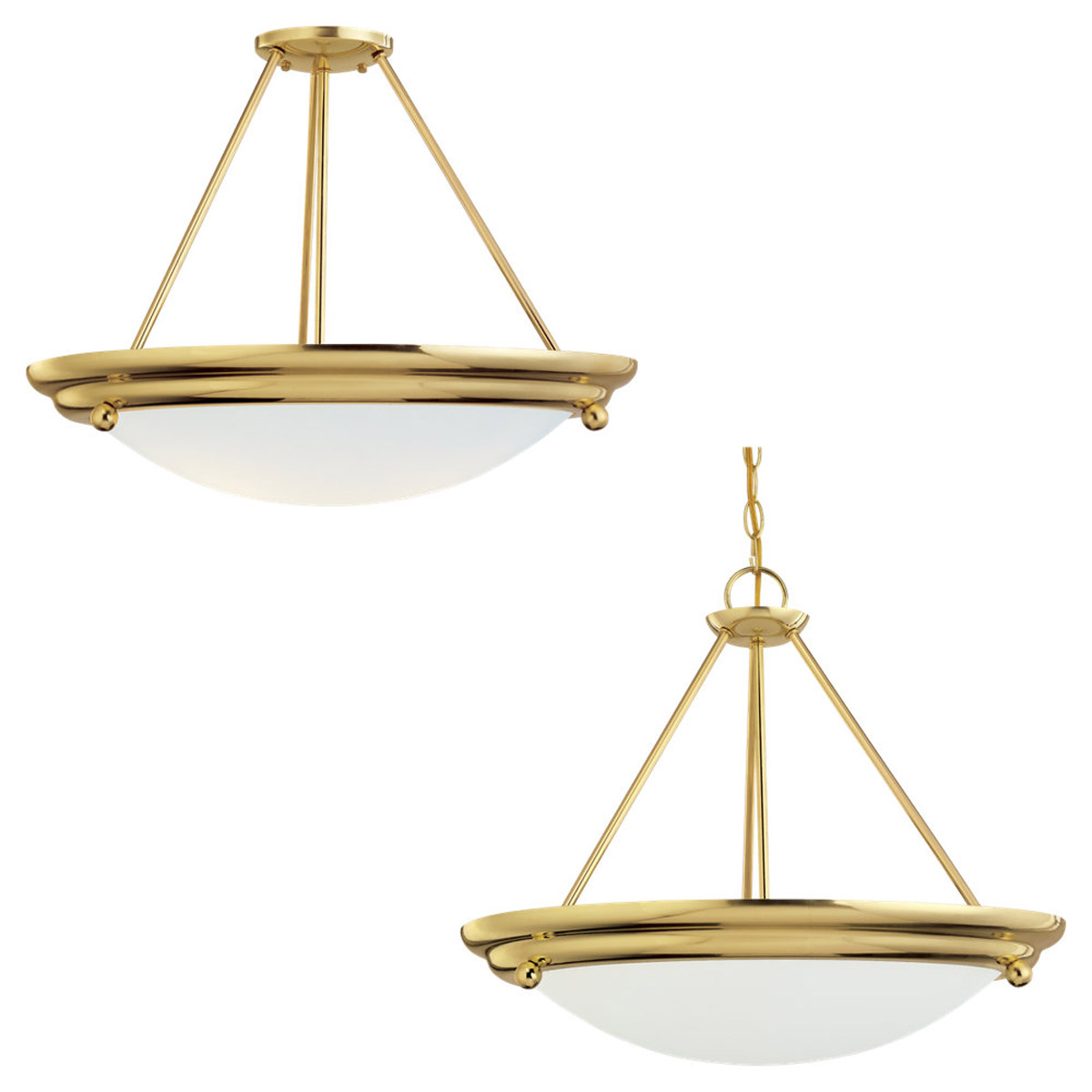 Sea Gull Lighting Centra 4 Light Semi-Flush Mount in Polished Brass 66238-02