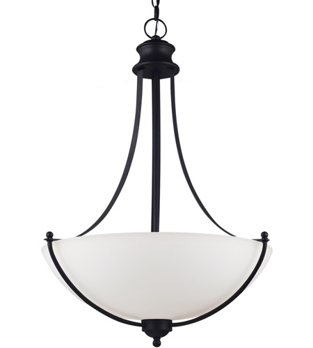 Sea Gull Lighting Uptown Fluorescent 3 Light Pendant in Blacksmith 66271BLE-839 photo