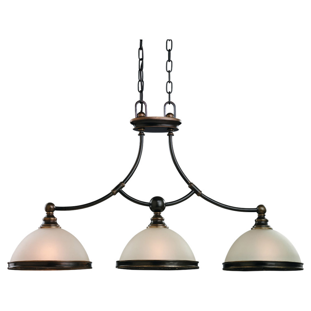 Sea Gull Lighting Warwick 3 Light Billiard Pendant in Vintage Bronze 66330-825