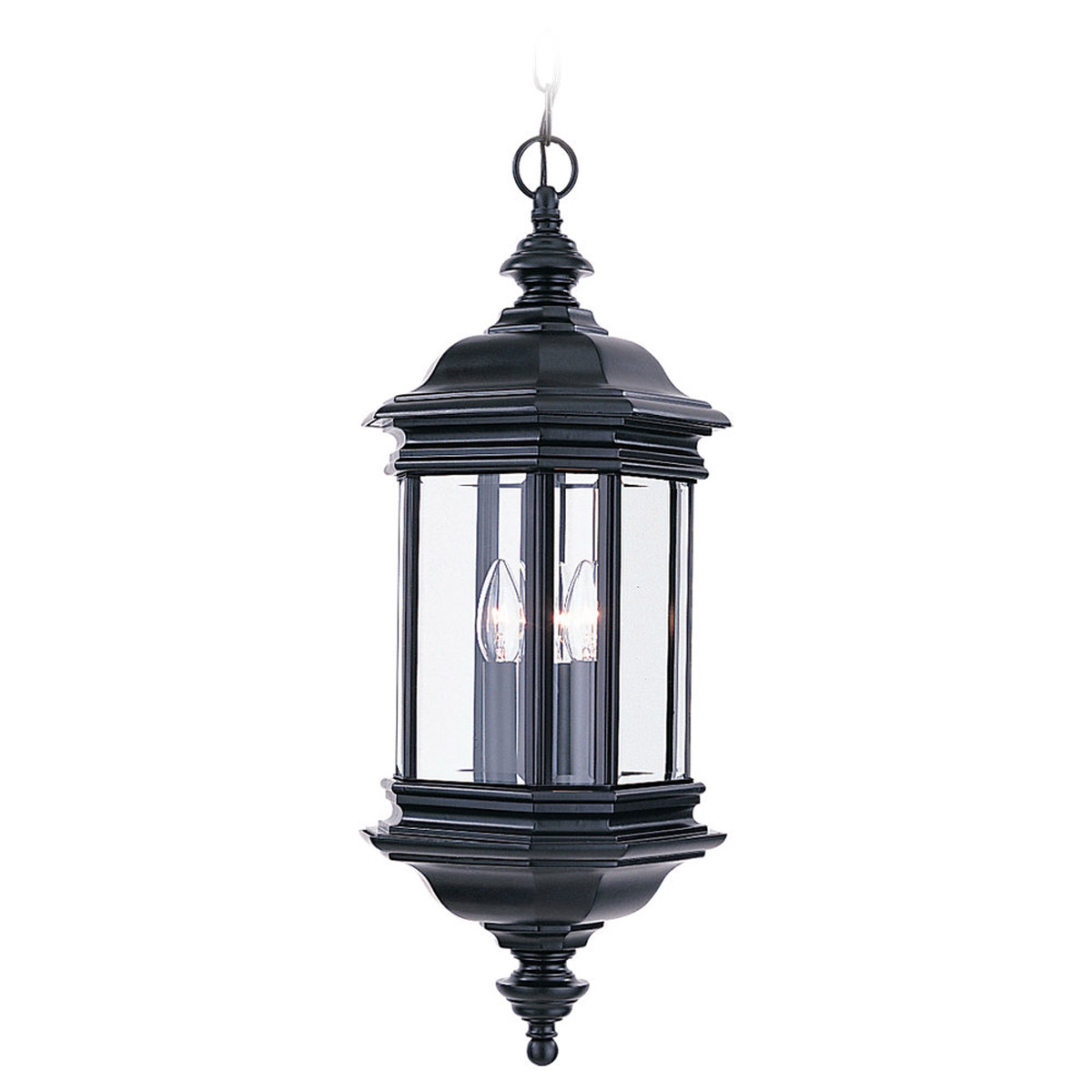 Sea Gull Lighting Hill Gate 3 Light Outdoor Pendant in Black 6637-12