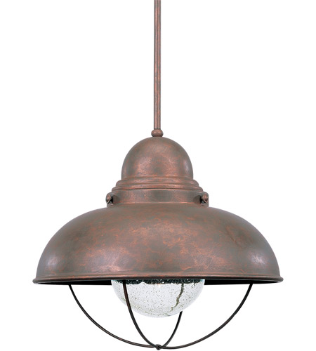 Sea Gull Lighting Sebring 1 Light Outdoor Pendant in Weathered Copper 6658-44 photo