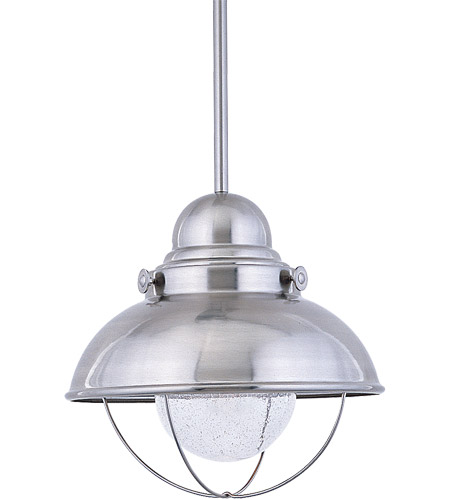Sea Gull Lighting Sebring 1 Light Outdoor Pendant in Brushed Stainless 6658-98