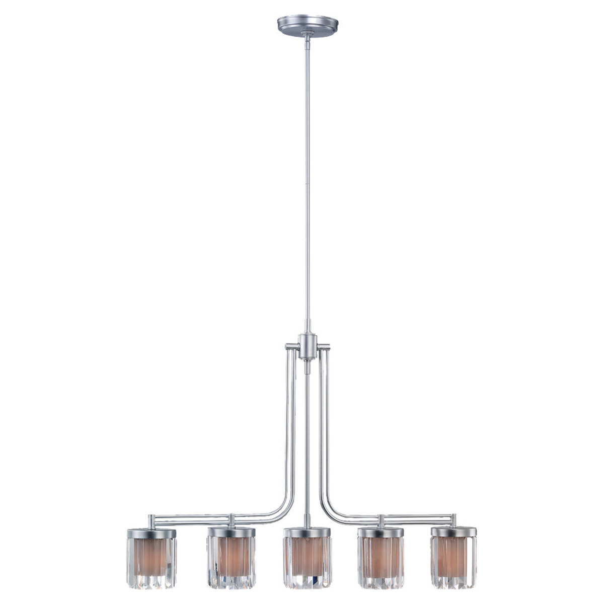 Sea Gull Lighting Nuit Noir Crystal 5 Light Chandelier in Brushed Chrome 66690-863 photo