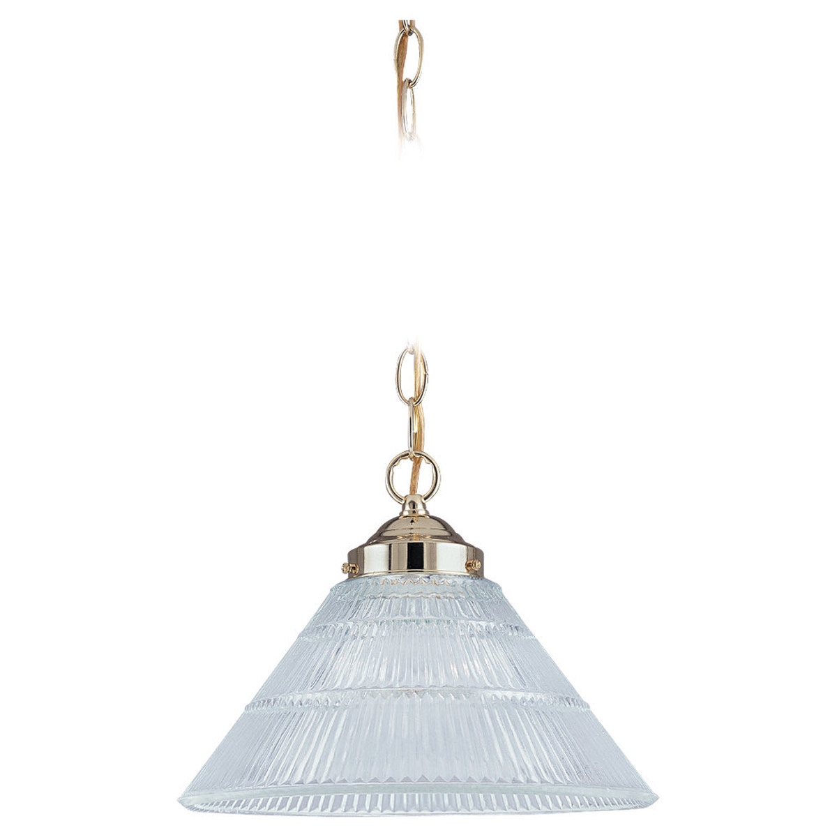 Sea Gull Lighting Ribbed Glass 1 Light Pendant in Polished Brass 6671-02 photo