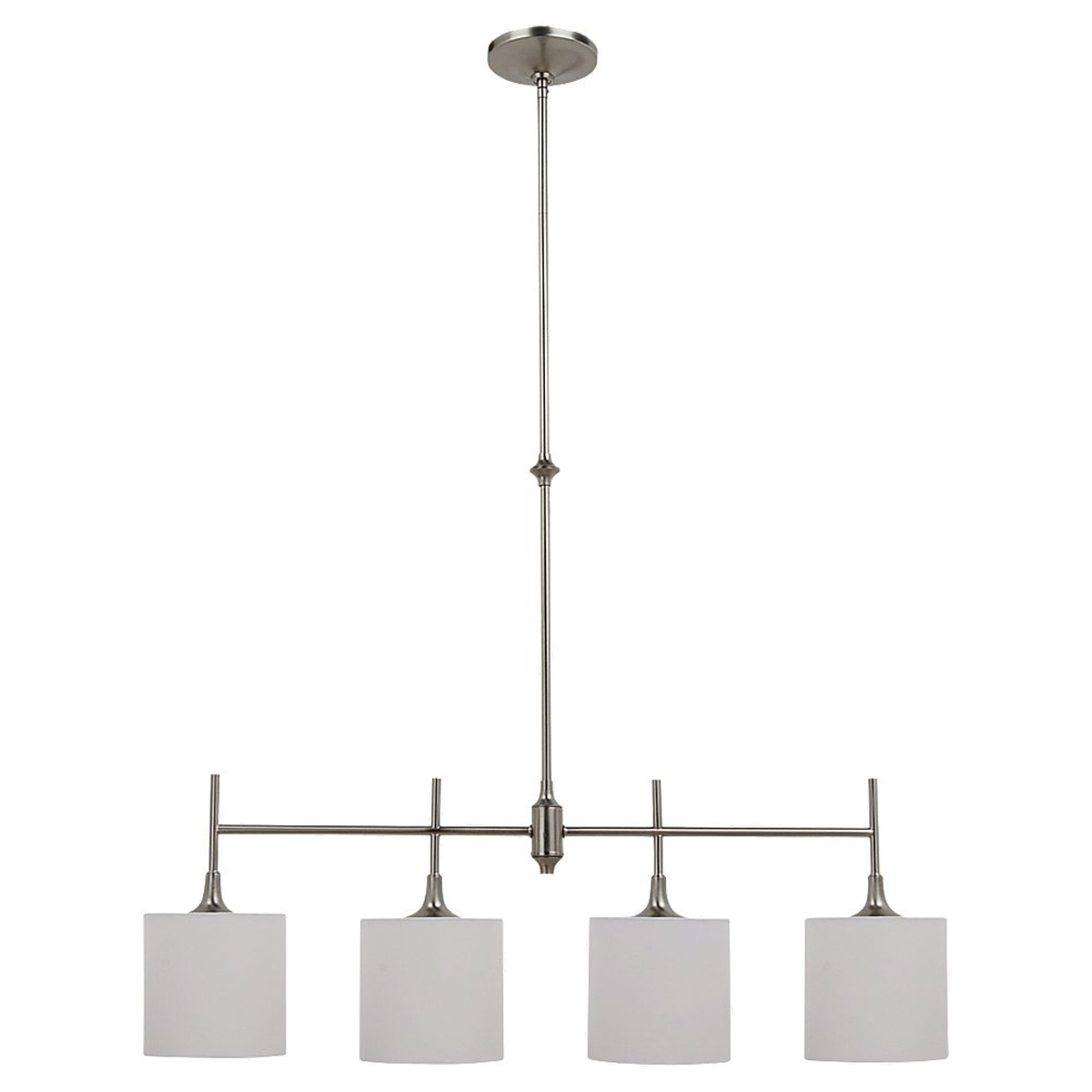 Sea Gull 66952-962 Stirling 4 Light 37 inch Brushed Nickel Island Pendant Ceiling Light in White Linen Fabric photo