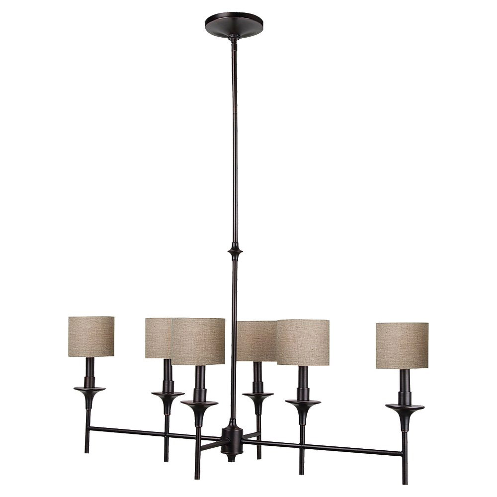 Sea Gull Lighting Stirling 6 Light Island Pendant in Burnt Sienna 66953-710