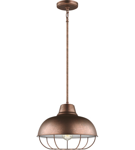 Sea Gull 6746501-44 Jeyne 1 Light 14 inch Weathered Copper Pendant Ceiling Light photo