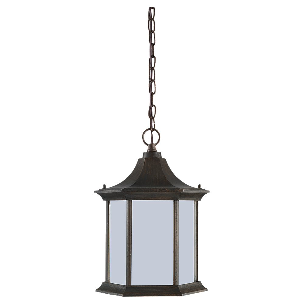 Sea Gull Lighting Ardsley Court 1 Light Outdoor Pendant in Textured Rust Patina 69136BLE-08