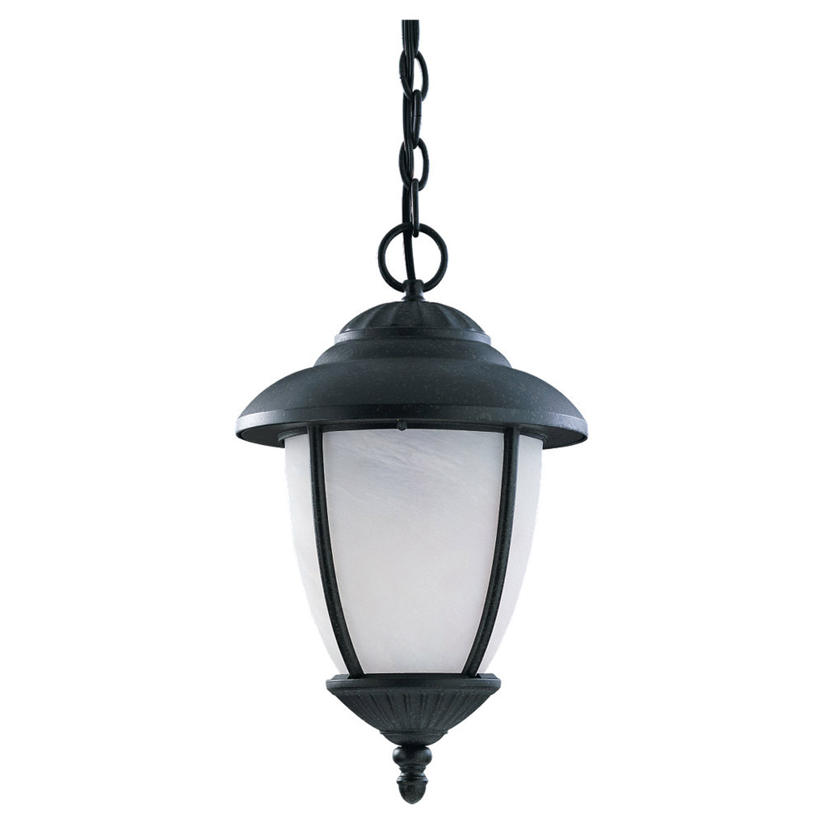Sea Gull Lighting Yorktown 1 Light Outdoor Pendant in Black 69248PBLE-12