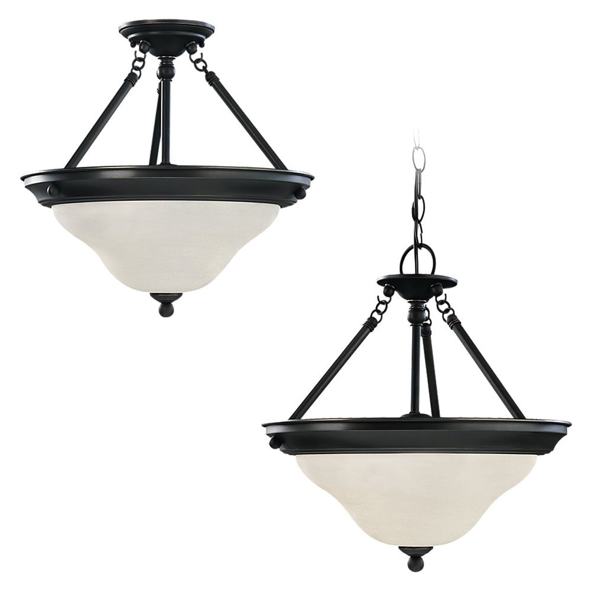 Sea Gull Lighting Sussex 3 Light Pendant Convertible in Heirloom Bronze 69562BLE-782