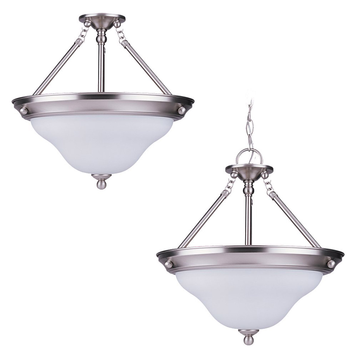 Sea Gull 69562BLE-962 Sussex 3 Light 15 inch Brushed Nickel Pendant Convertible Ceiling Light photo