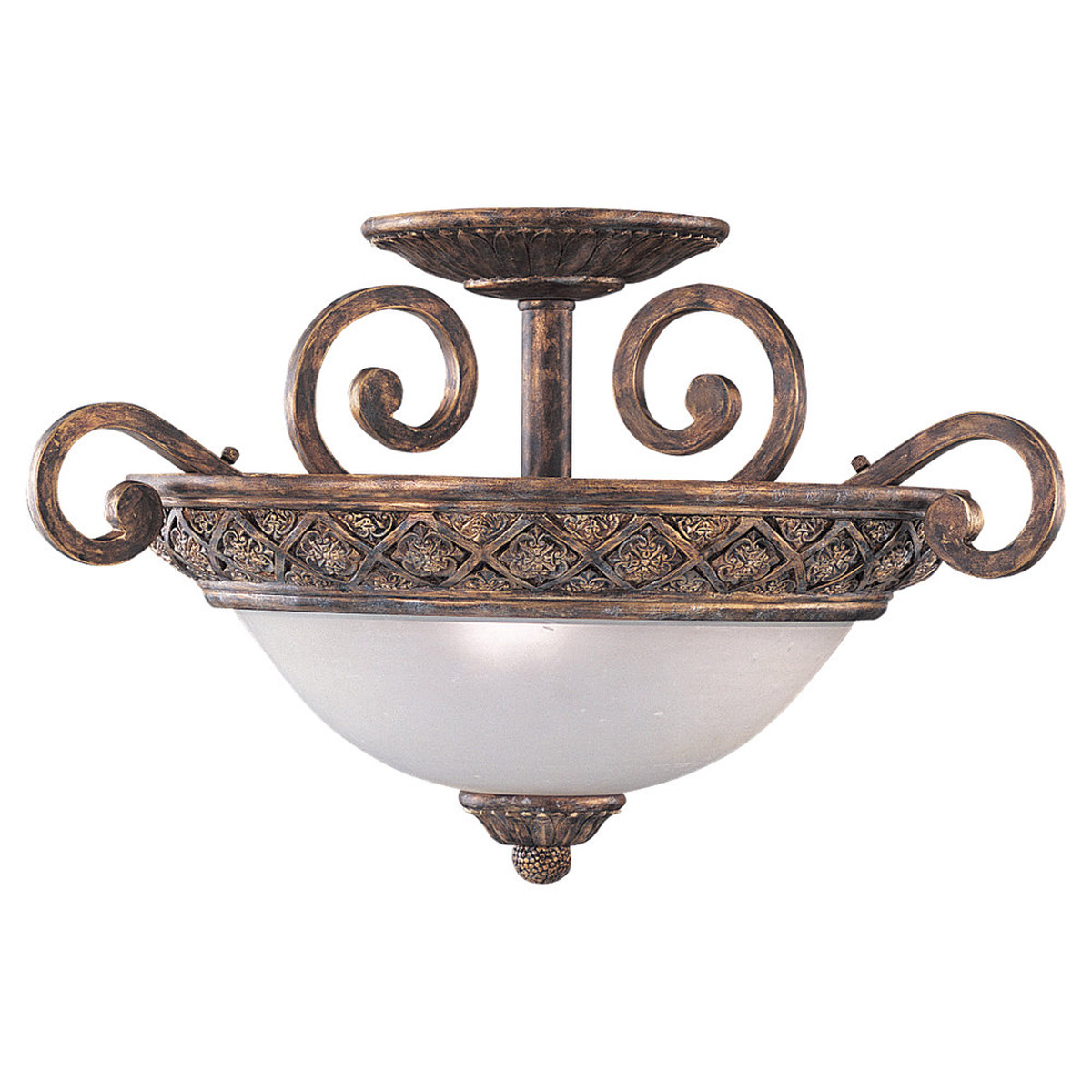 Sea Gull Lighting Highlands 3 Light Semi Flush Mount in Regal Bronze 75251-758