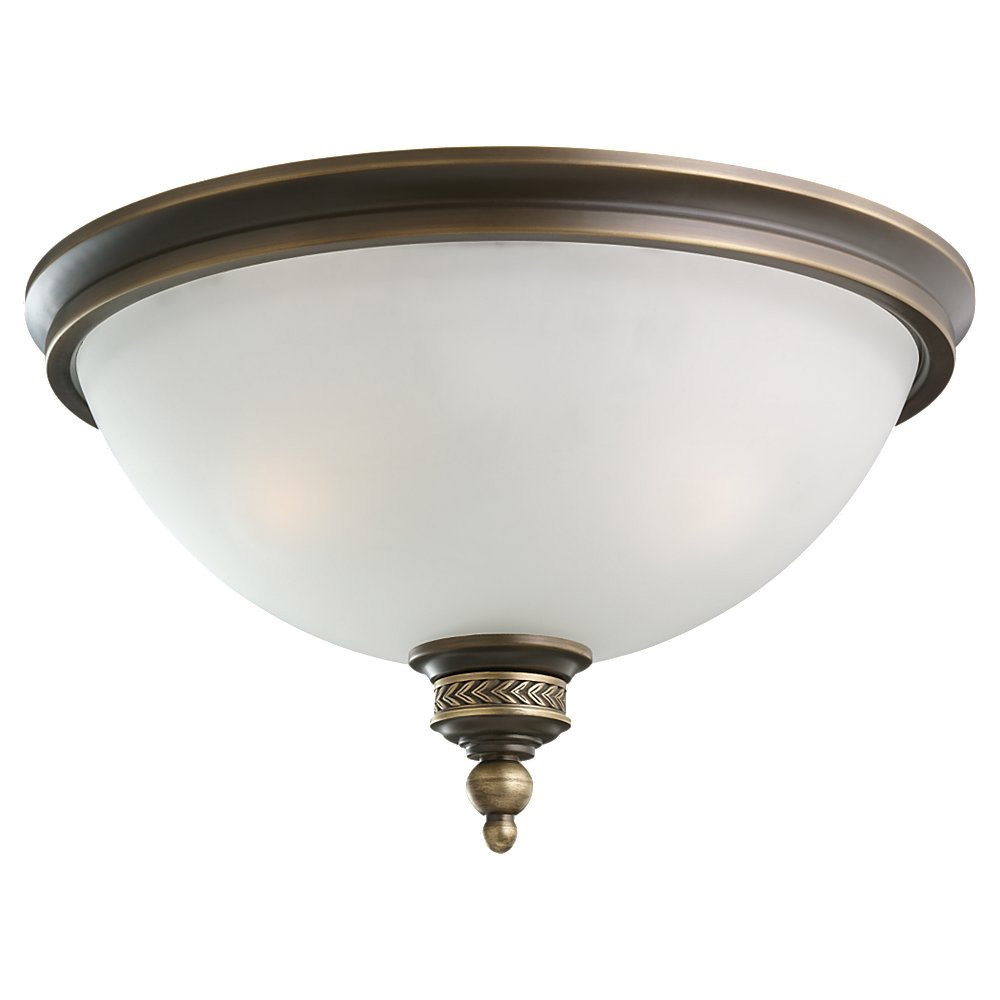Sea Gull Lighting Laurel Leaf 2 Light Flush Mount in Estate Bronze 75350-708
