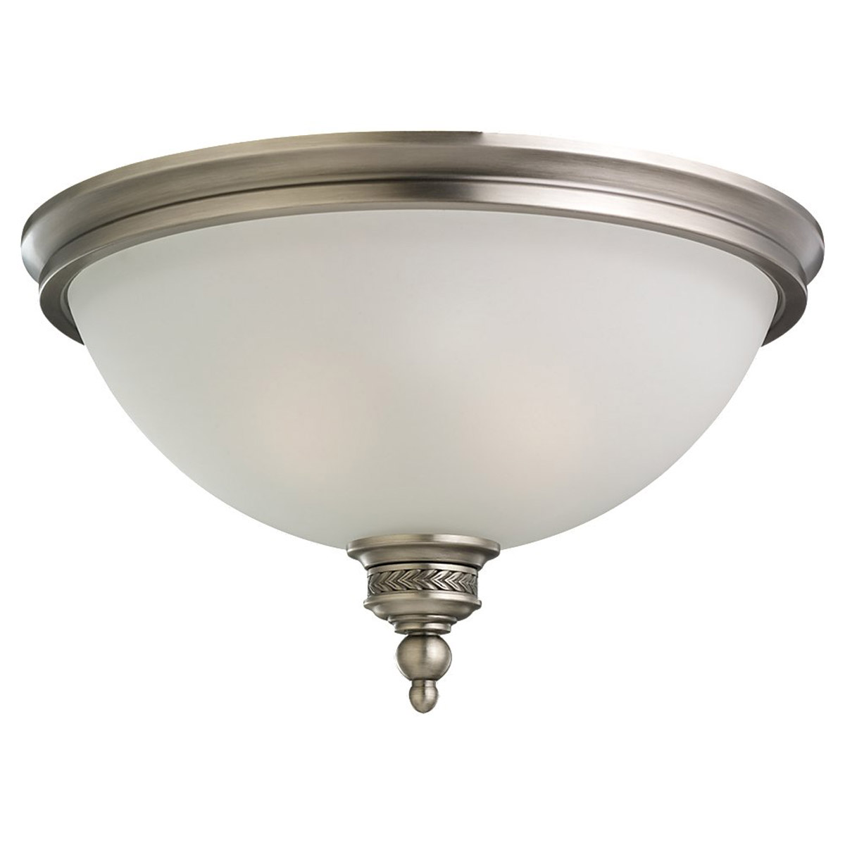 Sea Gull Lighting Laurel Leaf 2 Light Flush Mount in Antique Brushed Nickel 75350-965