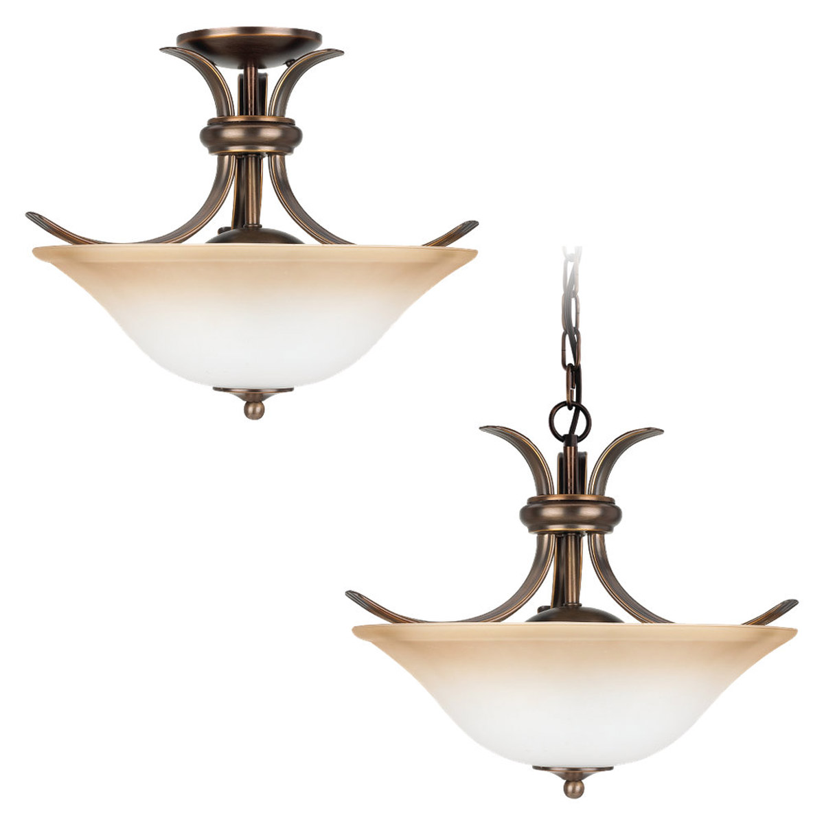 Sea Gull 75360-829 Rialto 2 Light 16 inch Russet Bronze Semi-Flush Mount Ceiling Light in Ginger Glass photo
