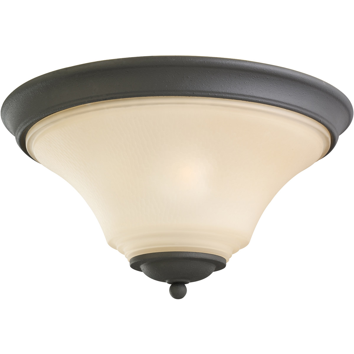 Sea Gull 75375-839 Somerton 2 Light 15 inch Blacksmith Flush Mount Ceiling Light in Cafe Tint Glass, Standard photo