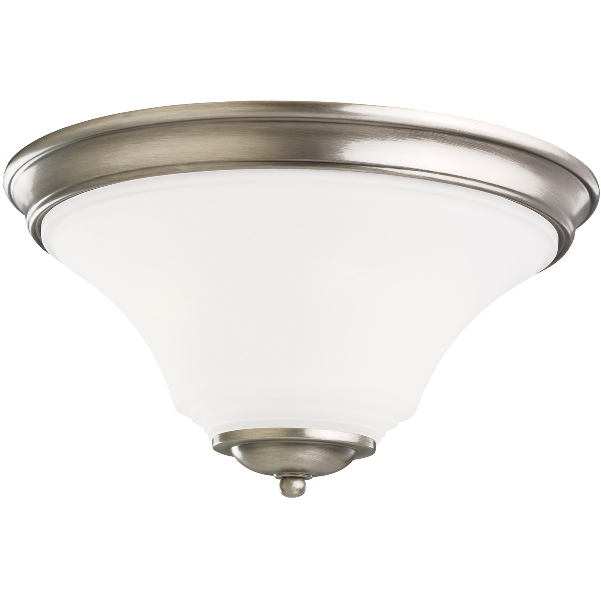 Sea Gull 75375-965 Somerton 2 Light 15 inch Antique Brushed Nickel Flush Mount Ceiling Light in Satin Etched Glass, Standard photo