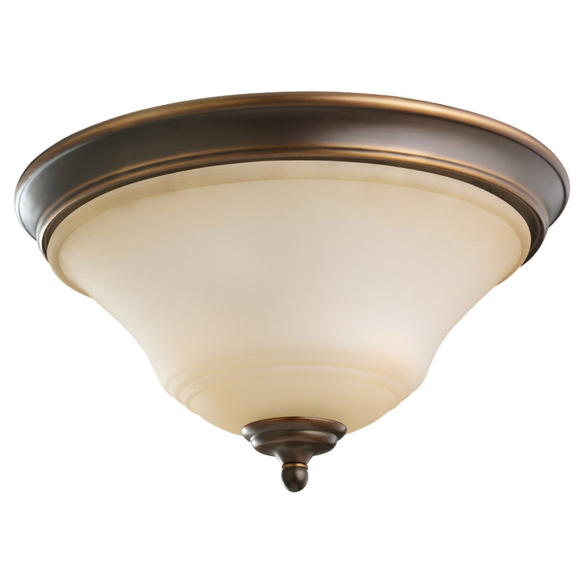 Sea Gull 75381-829 Parkview 2 Light 15 inch Russet Bronze Flush Mount Ceiling Light in Ginger Glass photo
