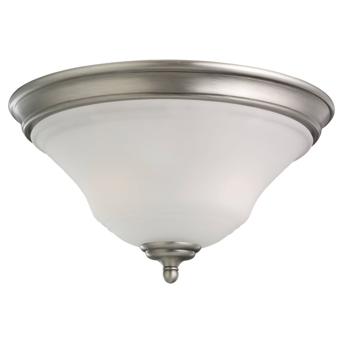 Sea Gull 75381-965 Parkview 2 Light 15 inch Antique Brushed Nickel Flush Mount Ceiling Light in Satin Etched Glass photo