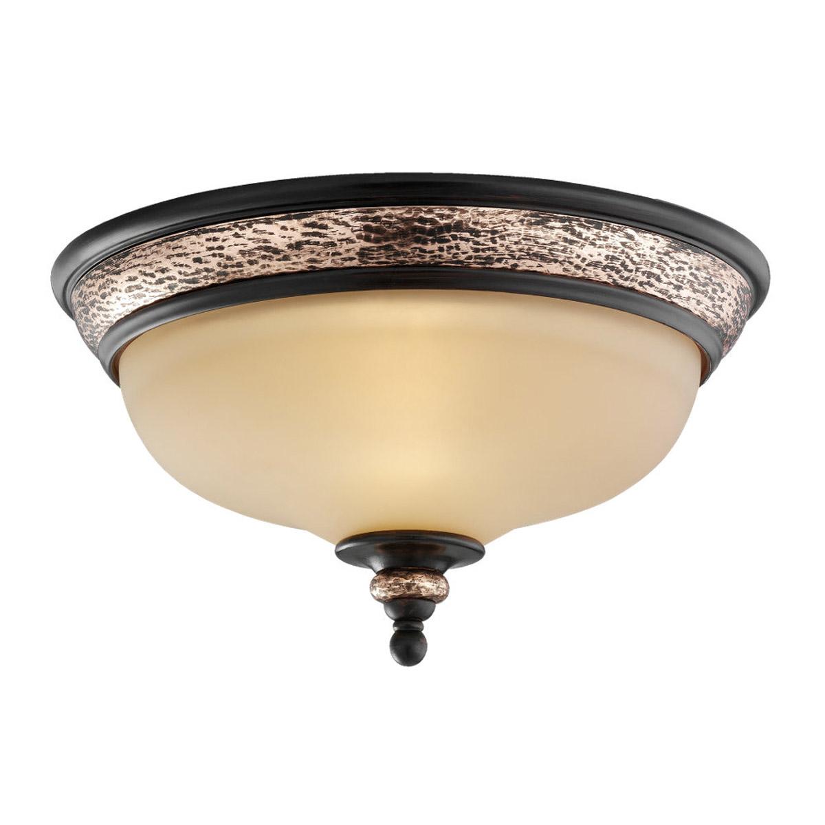 sea gull lighting brixham 2 light flush mount in rustic bronze with. Black Bedroom Furniture Sets. Home Design Ideas