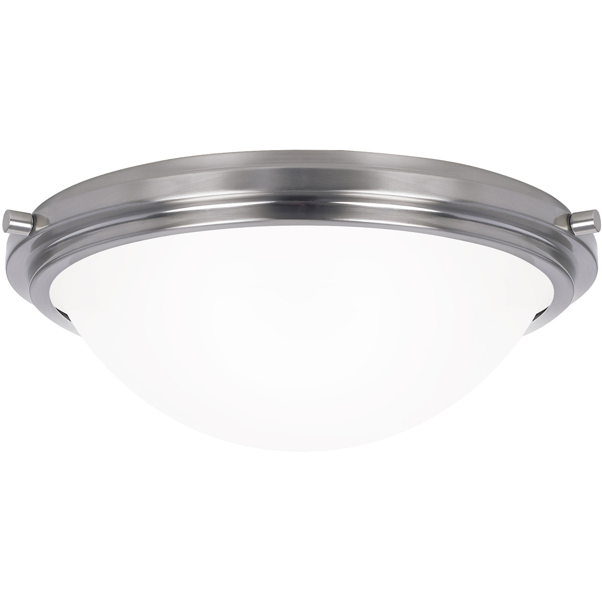 Sea Gull 75661BLE-962 Winnetka 2 Light 14 inch Brushed Nickel Flush Mount Ceiling Light in Satin Etched Glass, Fluorescent photo
