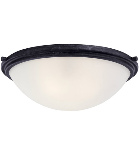 Sea Gull 75662-839 Winnetka 3 Light 18 inch Blacksmith Flush Mount Ceiling Light in Satin Etched Glass, Standard photo