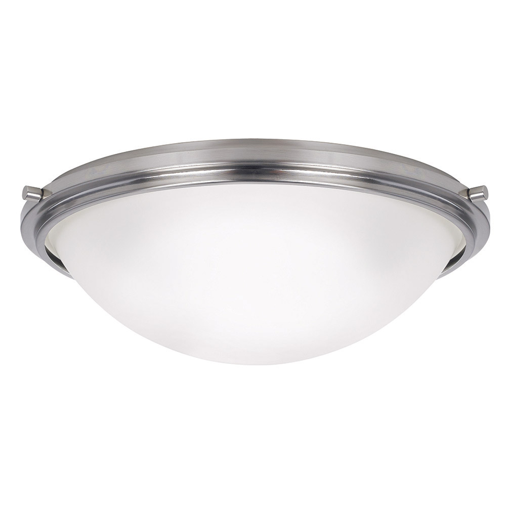 Sea Gull 75662-962 Winnetka 3 Light 18 inch Brushed Nickel Flush Mount Ceiling Light in Satin Etched Glass, Standard photo