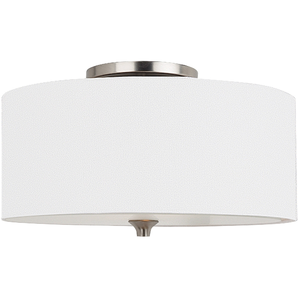 Sea Gull 75952-962 Stirling 2 Light 14 inch Brushed Nickel Flush Mount Ceiling Light in White Linen Fabric, Standard photo