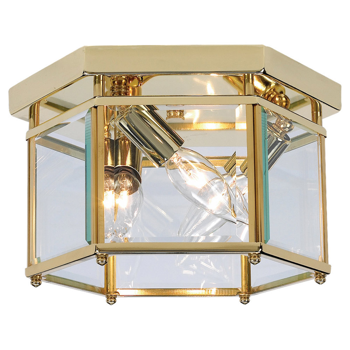 Sea Gull Lighting Bretton 3 Light Flush Mount in Polished Brass 7648-02