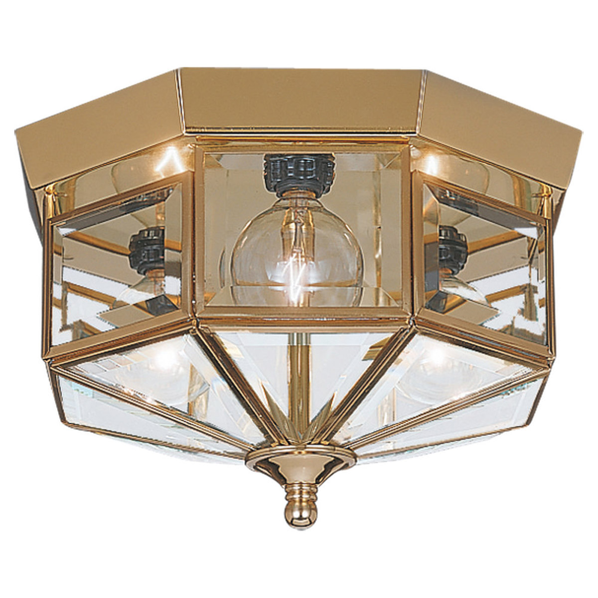 Sea Gull Lighting Grandover 3 Light Flush Mount in Polished Brass 7661-02 photo