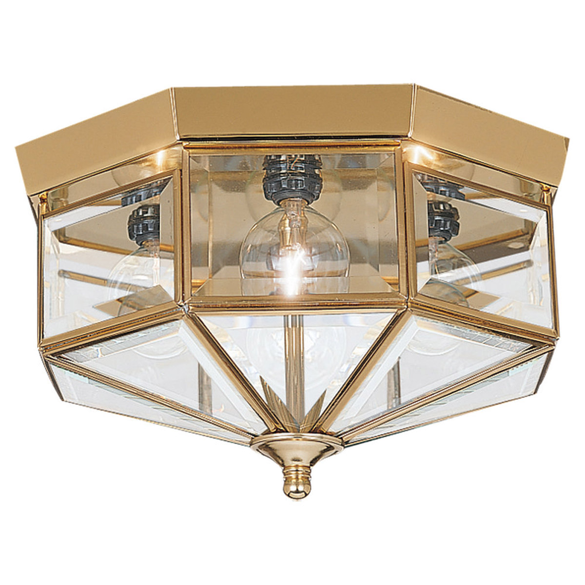 Sea Gull Lighting Grandover 4 Light Flush Mount in Polished Brass 7662-02