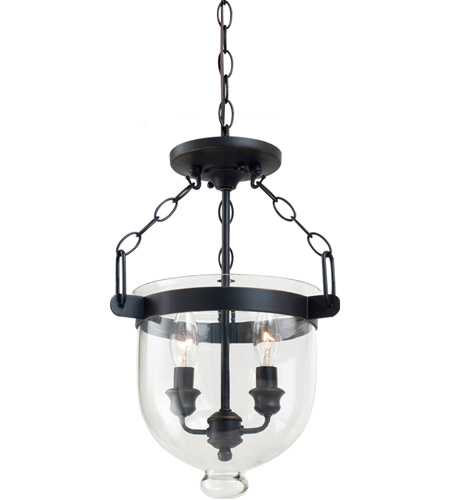 Sea Gull Lighting Westminster 2 Light Semi-Flush Convertible Pendant in Autumn Bronze 77046-715 photo