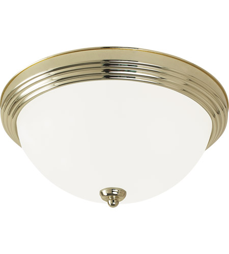 Sea Gull 77063-02 Signature 1 Light 11 inch Polished Brass Flush Mount Ceiling Light in Satin Etched Glass, Standard photo