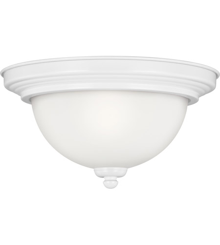 Sea Gull 77063-15 Signature 1 Light 12 inch White Flush Mount Ceiling Light in Satin Etched Glass, Standard photo