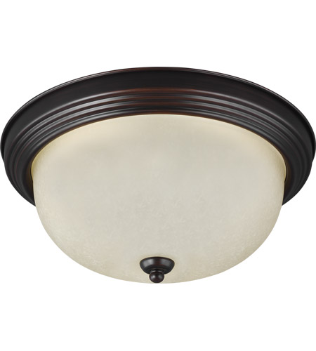 Sea Gull 77063-710 Signature 1 Light 11 inch Burnt Sienna Flush Mount Ceiling Light in Amber Scavo Glass, Standard photo