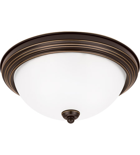 Sea Gull 77063-782 Signature 1 Light 11 inch Heirloom Bronze Flush Mount Ceiling Light in Satin Etched Glass, Standard photo
