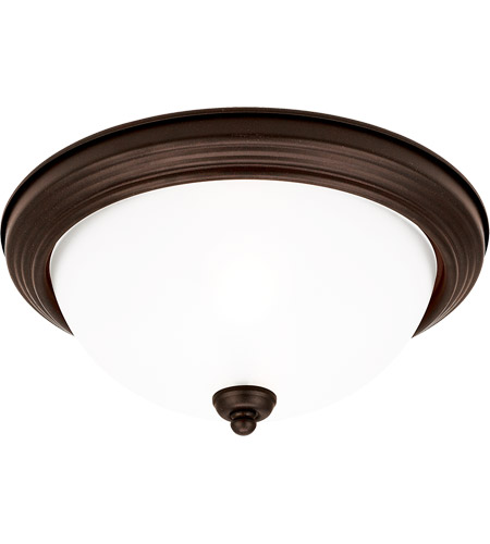 Sea Gull 77063-814 Acadia 1 Light 11 inch Misted Bronze Flush Mount Ceiling Light in Satin Etched Glass, Standard photo
